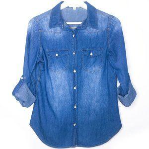 BLVD Medium Wash Denim Look Boyfriend Button Up